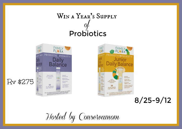 Probiotics For a Year Giveaway (rv $275)  Ends 9/12
